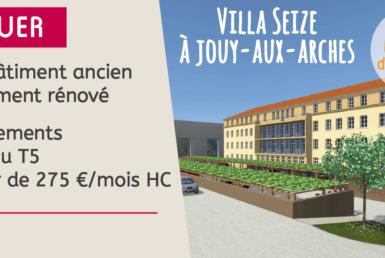 A louer – Dans bâtiment ancien entièrement rénové – Appartements du T2 au T5 à partir de 275 €/mois hors charges – Villa Seize à Jouy-aux-Arches – Derniers logements disponibles